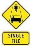 single file road sign