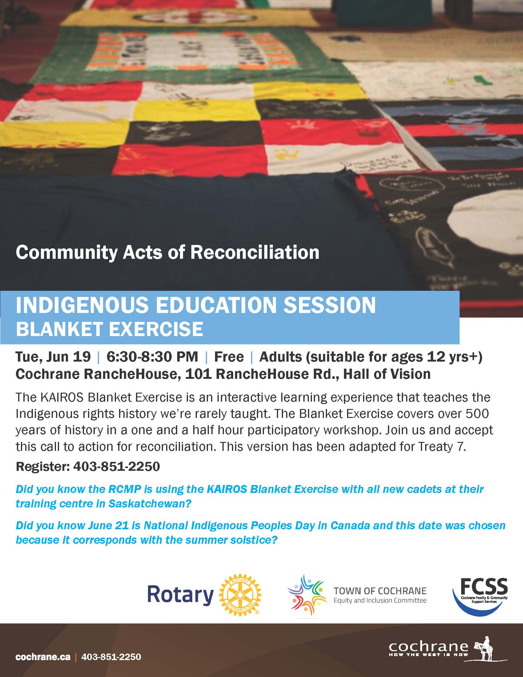 Indigenous Education Session - Blanket Exercise Poster