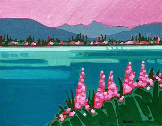 Lakeside Fireweed acrylic on 11x14 $425, contact: Lucie Bause luciebause@gmail.com